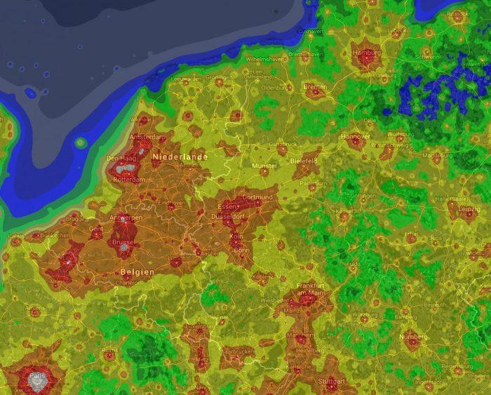 Lichtverschmutzung Karte 2019.Globale Karte Der Lichtverschmutzung Astronomie Blog